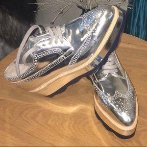 Women shoes sneakers silver platform Oxford Prada